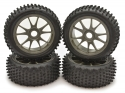 Image Of Kyosho 1:8th Multi Spike Tyre on 10-Spoke Wheel (Graphite) x 4