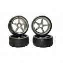 Image Of Kyosho On Road Tyres Pre-Mounted on Inferno GT Silver Wheels x 4