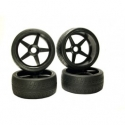 Image Of Kyosho On Road Tyres Pre-Mounted on Inferno GT Black Wheels x 4