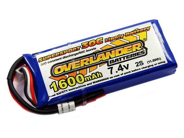 Overlander Sport 7.4v 1600mAh 30C LiPo Pack (No Connector Fitted) 0002564