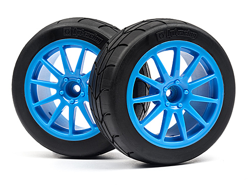 HPI Mounted Gymkhana Tire/speedline Corse Turini Wheel Set (cyan/2pcs) 115155