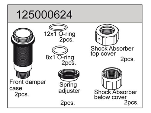 Ansmann Racing Front Damper Plastic Parts and Seals - Macnum (#125000624) C551250624