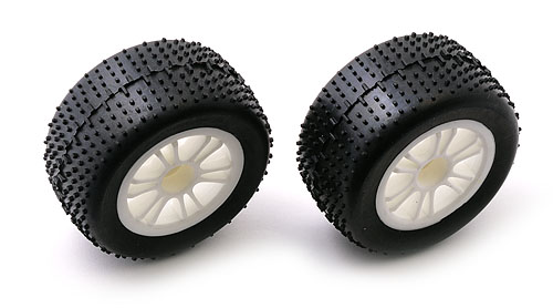 Image Of Team Associated RC18B Mini-Pin Rear Tyres Pre-mounted on White Spoked Wheels (2)
