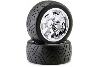 Absima Truggy Tyre And Rim LP Street (2) Chrome  2530005
