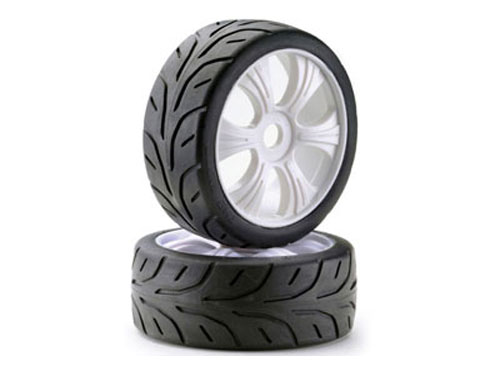 Absima 1/8th Buggy Wheels and Tyres LP Street White (2) 2530004