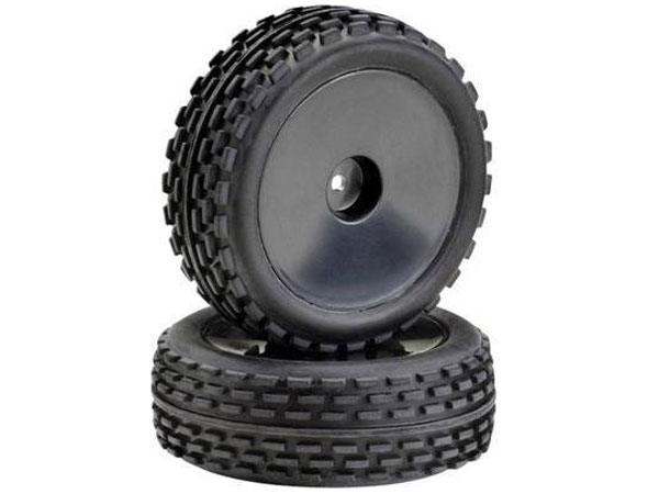 Absima 1:10 Off Road Front Wheel and Tyre Set (2) Black 2500011