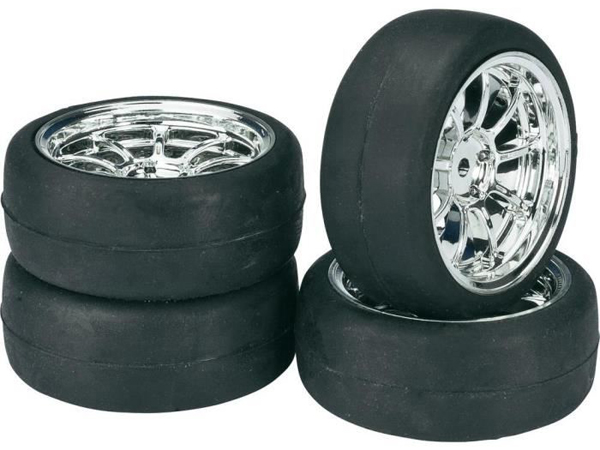 Wheel Set Onroad Lp 9 Spoke/ Slick Chrome 1:10 (4) 2510010