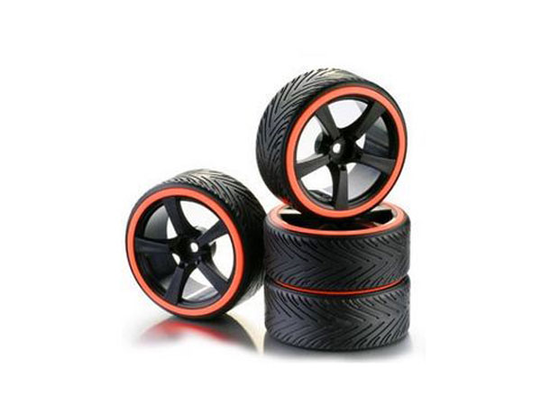 Absima Wheel Set Drift 5-Spoke Profile A Rim Black/ Ring Neon Orange 1:10 (4) 2510046