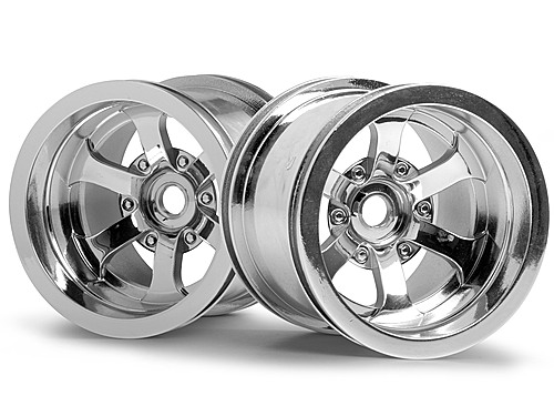 HPI Scorch 6-spoke Wheel Shiny Chrome (55x50mm/2pcs) 3087