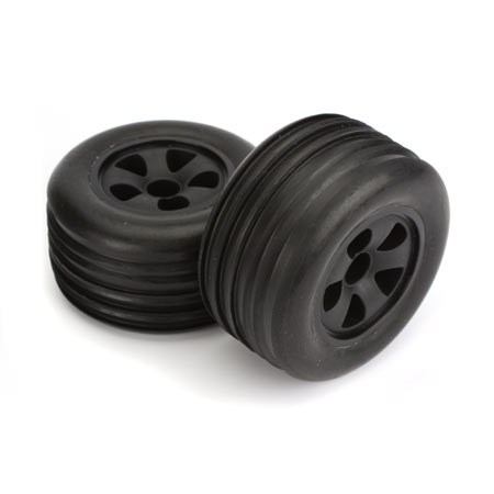 ECX Circuit Premounted Front Black Ribbed Tyre Set (2) ECX1009
