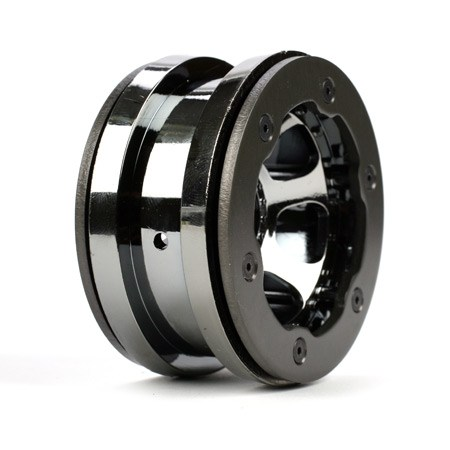 Losi 2.2inch Black Chrome Beedlock Wheels with Ring and Hardware (2) LOSA7021