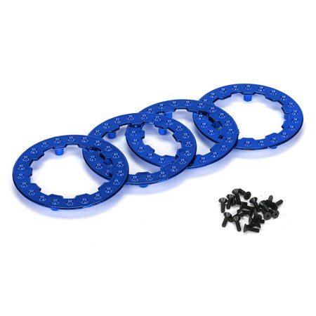 Losi XXX SCT Blue Chrome Beadlock Ring with Screws (4) LOSB7025