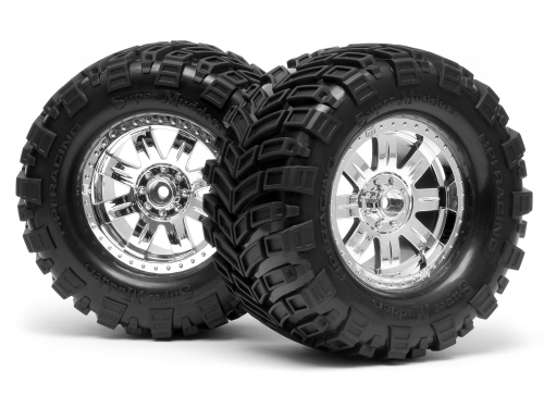HPI Mounted Super Mudders Tire 165x88mm On Ringz Wheel Shiny Chrome 4726