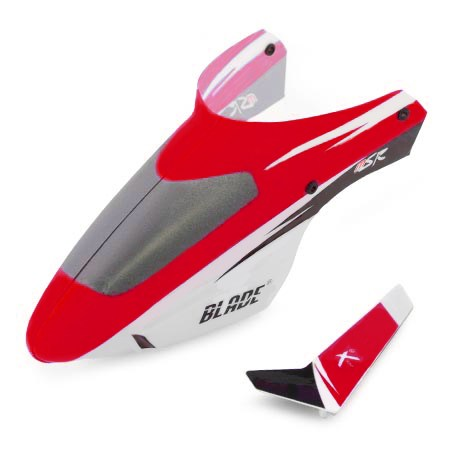 Blade Blade mSR Complete Red Canopy with Vertical Fin BLH3018R