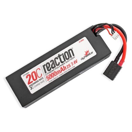 Dynamite Reaction 7.4volt 5000mAh 2S 20C Hardcase LiPo with Traxxas Plug DYN9004T