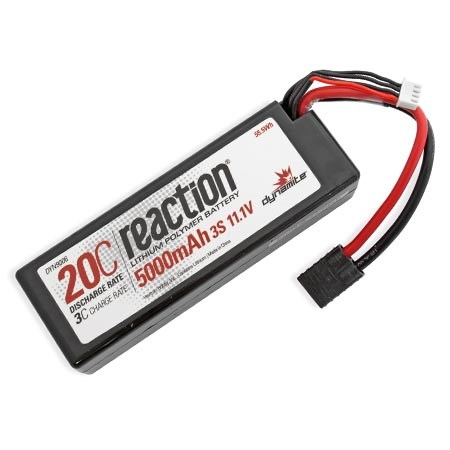Dynamite Reaction 11.1volt 5000mAh 3S 20C Hardcase LiPo with Traxxas Plug DYN9006T