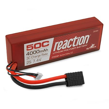 Dynamite Reaction Hardcase 7.4volt 4000mAh 2S 50C LiPo with Traxxas connector DYNB3801T