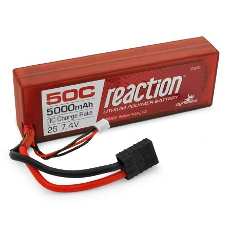 Dynamite Reaction Hardcase 7.4volt 5000mAh 2S 50C LiPo with Traxxas connector DYNB3802T