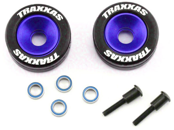 Traxxas Wheelie Bar Wheels - Blue Anodized 5186A