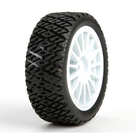 Losi FF/RR Gravel Spec Tyre Mounted: Mini Rally LOS41006