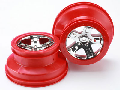 Traxxas Wheels, SCT Satin Chrome, Red Beadlock Style (2) 2wd Front 5874A