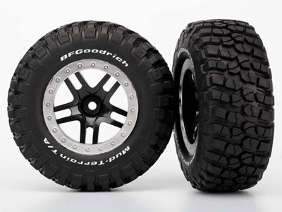 Traxxas Wheels & Tyres, Assembled, Glued (SCT Split-Spoke, Black, Satin) 2wd RR 4wd FR/RR 5883