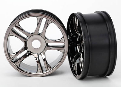 Traxxas Wheels Split-Spoke (Black Chrome) (Rear) (2) 6476