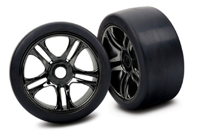 Traxxas Tyres And Wheels FR - Split-Spoke, Black Chrome, Slick Tyres  6479