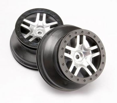 Traxxas SCT Split-Spoke Wheels,Chrome/Black (4wd Fr/Rr, 2wd Rr) (2) 6872