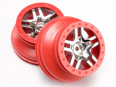Traxxas Wheels SCT Split-Spoke, Chrome, Red Beadlock Style (2) 2wd Rear 4wf F/R 6872A