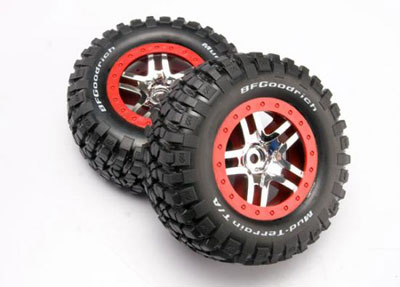 Traxxas Tires And Wheels, Assembled (SCT Split-Spoke, Chrome/Red) 6873A