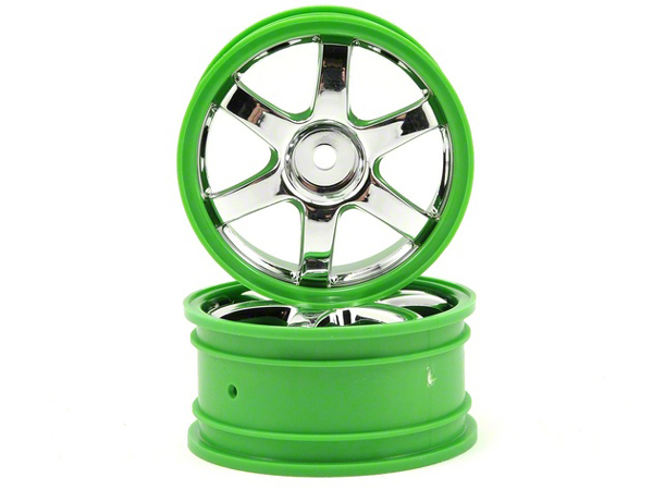 Traxxas 1/16 Rally Wheels - Volk Racing TE37 - Chrome/Green 7374