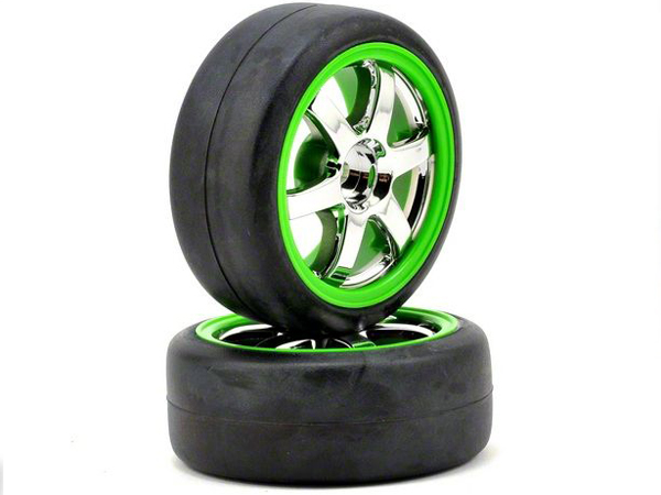 Traxxas 1/16 Rally Tyres Mounted on Volk TE37 Chrome/Green Wheels (2) 7375