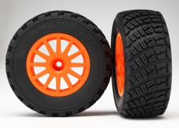 Traxxas Tires/Wheels Assembled Glued 1/10 Rally VXL - Orange 7473A