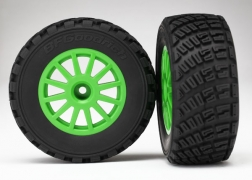 Traxxas Tires/Wheels Assembled Glued 1/10 Rally VXL - Green 7473X