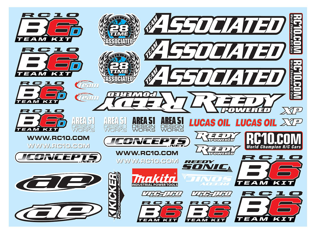 Associated B6/B6D Decal Sheet  AS91742