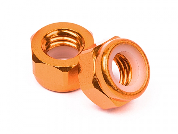 Image Of HPI Aluminum Lock Nut M5 (orange/10pcs)