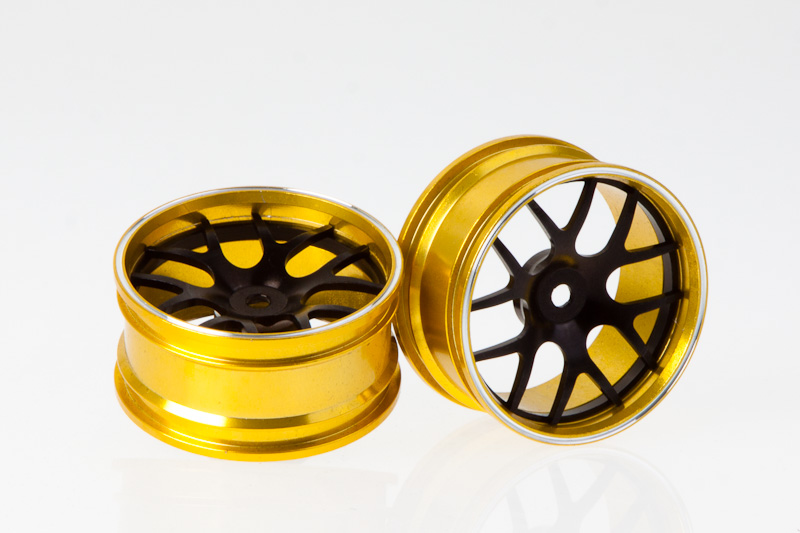 Killer Body Corvette Gt2, Cnc Alloy Rims (black / Gold)   KB48077B