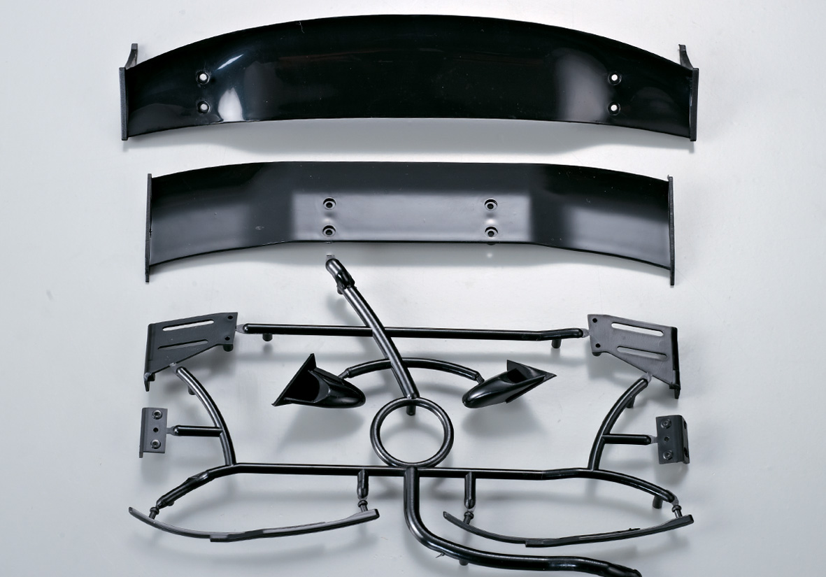 Killer Body Black Injected Wing, Wiper, Mirror Set (for 1/10)   KB48128