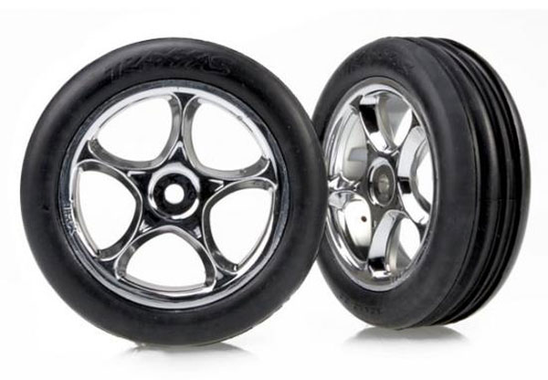 Traxxas Tracer 2.2 Inch Chrome Wheels Alias Ribbed 2.2 Inch Tires (2) 2471R