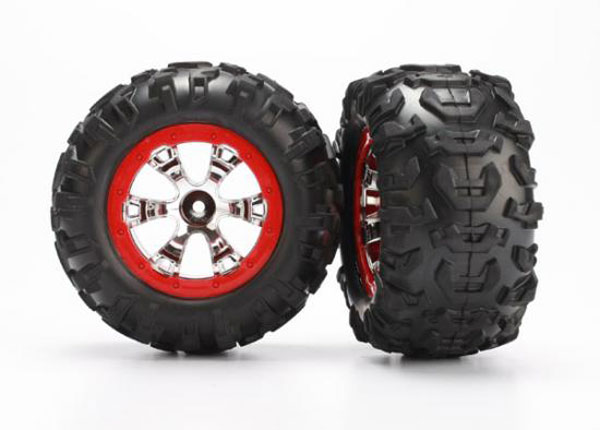 Traxxas Wheels And Tyres (Geode Chrome/Red - Canyon AT Tyres) 7272