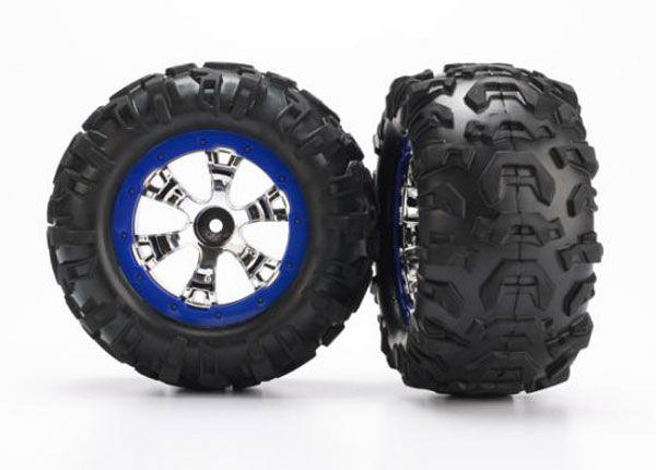 Traxxas Wheel And Tyre (Geode Chrome/Blue Canyon AT Tyres)  7274