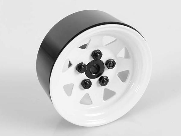 RC4WD ZQ0033 5 Lug Wagon 1.9 Single Steel Stamped Beadlock Wheel (White) Z-Q0033