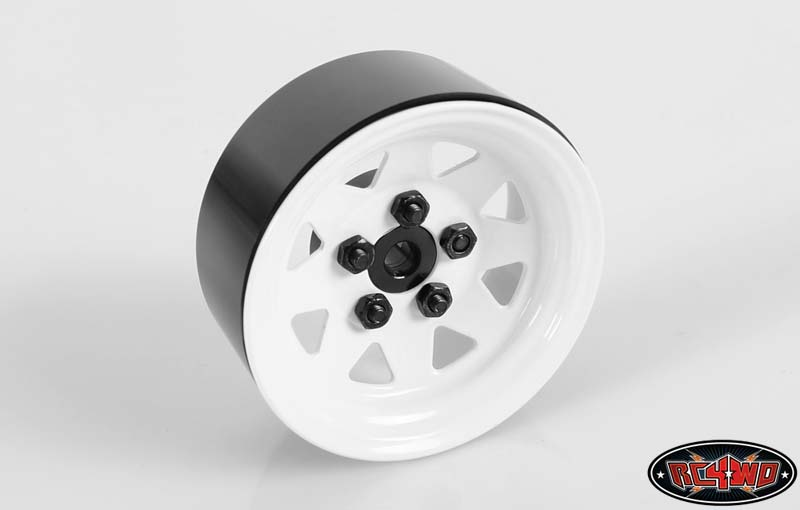 RC4WD ZW0127 5 Lug Wagon 1.9 Steel Stamped Beadlock Wheels (White) Z-W0127