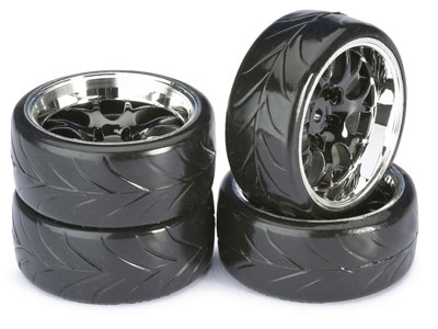 Absima Wheel Set Drift LP Comb / Profile A Black/ Chrome 1:10 (4) 2510040