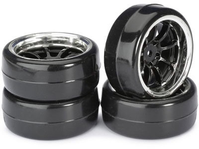 Absima Wheel Set Drift LP 9 Spoke / Profile B Black/ Chrome 1:10 (4) 2510043