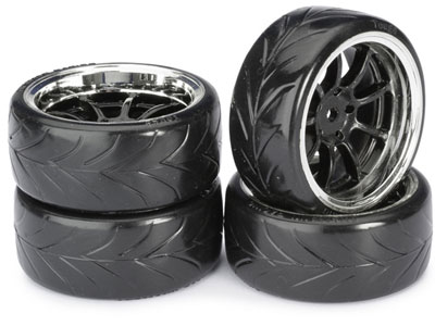 Absima Wheel Set Drift LP  9 Spoke / Profile A Black/ Chrome 1:10 2510044