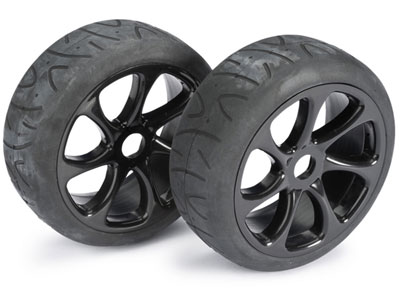 Absima Wheel Set Buggy 7 Spoke / Street Black 1:8 (2) 2530010