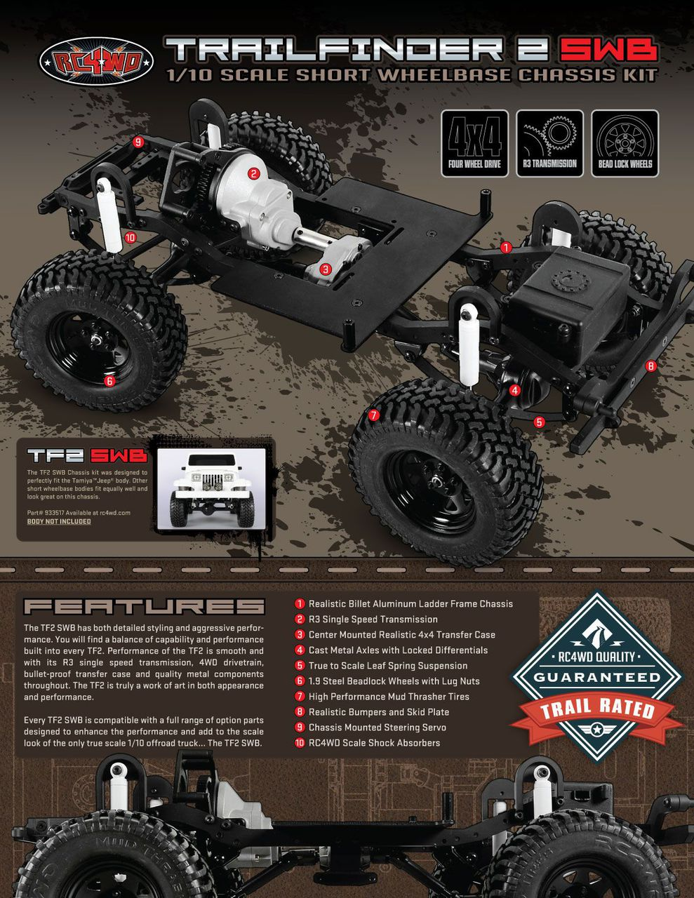 Rc4wd zk0045 rc4wd trail finder 2 truck chassis kit swb z k0045 previous next publicscrutiny Image collections