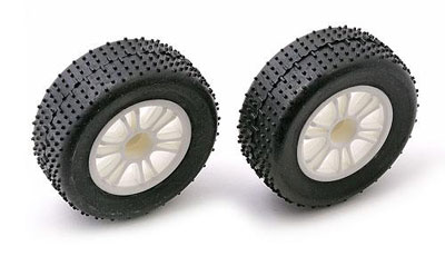 Team Associated RC18B Mini-Pin Front Tyres Pre-mounted on White Spoked Wheels (2)  AS21253